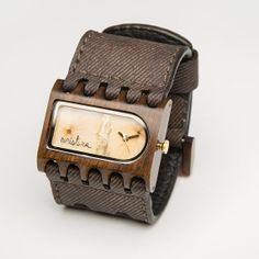 Wood Watches -  Ferro - Pui or Teak Wood  w/ Real Flowers on Etsy, $264.00