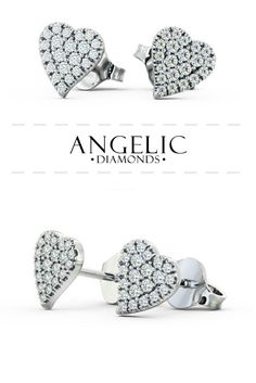 Mira heart style diamond earrings in White Gold. Unique and beautiful earrings with a cluster of round shaped diamonds on each earring to form a heart shaped pattern. Diamond Studs, Diamond Jewelry, Diamond Earrings, Stud Earrings, Wedding Earrings, Wedding Jewelry, Heart Shaped Diamond, Shape Patterns, Modern Jewelry