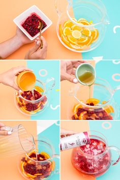 Save this step-by-step cocktail recipe to make a summer sangria made with lemon, oranges, raspberries + a few other simple ingredients. #partner