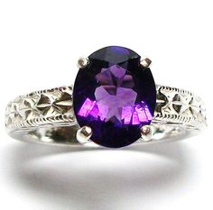 Untreated amethyst engraved shank ring s 7  Edge by Michaelangelas, $99.50  Free worldwide shipping!
