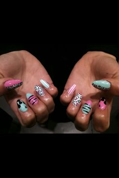 not a fan of the shape but the design & colors are cute! wah-nails.com