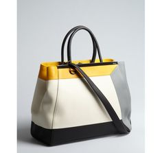 Fendi ivory colorblock leather '2Jours Large' convertible satchel