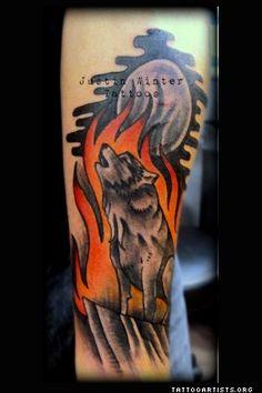 Howling Wolf Tattoo by Justin Winter Seattle, Wa