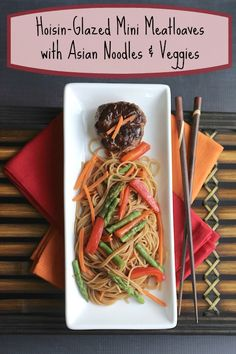 Family-favorite meatloaf recipe! Fast-baking mini meatloaves, topped with a savory hoisin glaze and served over Asian noodles and veggies! So good! An easy meal-in-one ... perfect for busy weeknights (with make-ahead tips!). ~ www.TwoHealthyKitchens.com