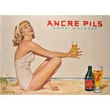 Ancre Pils Biere D Alsace Belgium - Beautiful Vintage Posters Reproductions. This horizontal Belgium poster advertising beer features an attractive blond woman in a white swimsuit on the beach holding a glass of beer. Alsace, Beer Advertisement, 50s Advertising, Sous Bock, Pub Vintage, Pin Up, Beer Poster, Beer Packaging, Poster