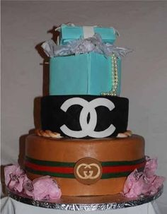 Tiffany, Chanel and Gucci cake