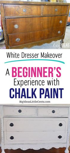 White dresser Makeover, A beginner's experience with chalk paint. Learn lots of tips and tricks for recycled furniture-Big Ideas Little Cents Distressed Furniture, Recycled Furniture, Furniture Projects, Furniture Makeover, Dresser Makeovers, Diy Furniture, Chalk Paint Projects, Chalk Paint Furniture, Paint Ideas