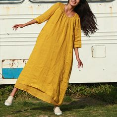Yellow tunic dress 3/4 sleeve long dress loose caftan linen