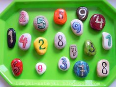 Get some pebbles or rock stones, sharpies or permanent markers. Have your child write numbers one to ten on each. Use them to help him or her learn the numbers. Visual Learning, Play Based Learning, Kids Learning Activities, Creative Activities, Numeracy Activities, Math Numbers, Learning Numbers, Letters And Numbers, Early Years Maths