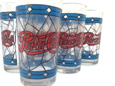Vintage Pepsi Cola Glasses set of 6 Pepsi by Prairiegirltreasure, $24.95
