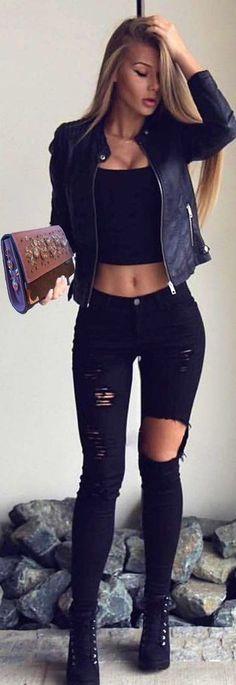 spring outfits with jeans best outfits – Page 7 of 100 – Mode für Frauen Crop Top Outfits, Mode Outfits, Fashion Outfits, Black Crop Top Outfit, Fashion Clothes, Outfits With Black Jeans, Dress Black, Fashion Heels, Club Outfits