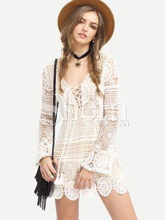 White+Long+Sleeve+Lace+Up+Lace+Boho+Dress+21.99