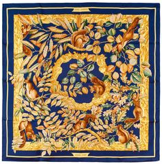 Authentic Hermes Silk Scarf CASSE NOISETTE Squirrels de Jacquelot Blue EXC   Hermes  Scarf Yellow ee79acd8a0b