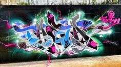 Pink, Blue, White & Green Street Art - Thetan
