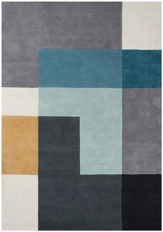 WovenGround Tetris rug made in hand tufted wool - blue http://wovenground.net/modern/square-and-check/-tetris/blue