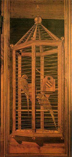 Benedetto da maiano (attr.) tarsie dallo studiolo di federico da montefeltro, urbino Renaissance, Wooden Pattern, Florence Tuscany, Wood Stone, Bird Cages, Italian Art, Geometry, Art Decor, Italy