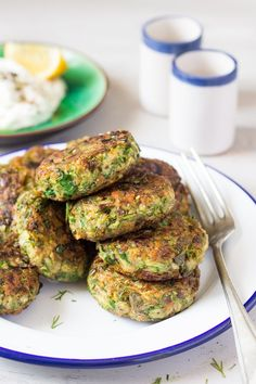 vegan greek zucchini fritters stack