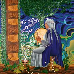 Her spiritual, feminist paintings channel ancestral wisdom and sacred visions of ayahuasca and DMT ceremony. Divine Mother, Sacred Feminine, Goddess Art, Native American Artists, Creative Workshop, Plant Illustration, Indigenous Art, Visionary Art, Native Art