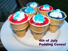 Need an easy, yet delicious, desert for the 4th of July! Try my Red, White, and Blue Pudding Cones!