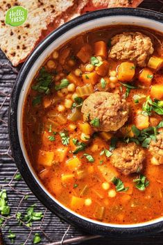 idea for a spicy soup recipe / hearty meat soup / so . Soup Recipes, Vegan Recipes, Canned Blueberries, Gluten Free Flour Mix, Scones Ingredients, Spicy Soup, Eating Alone, Vegan Foods, Chana Masala