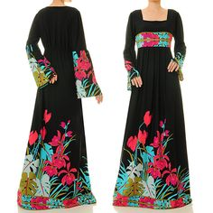 Black Abaya Maxi Dress Long Sleeve  Floral by Tailored2Modesty