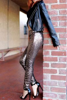 We are gearing up for winter with our beautiful Black Magic sequin pants! These gold sequin pants with elastic waist are so perfect for winter or a trip to Vegas. Stretch fit.