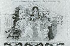 Saint-Émilion: peinture du charnier de la Madeleine- 3) MICHELLE GABORIT, PEINTURES MURALES MEDIEVALES: ...un exemple précoce de cette iconographie développe développe sur le thème des fins dernières, thème plus largement diffusé dans le sud-ouest à partir de la seconde partie du XV°s.
