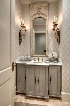 Not the sconces and drawers on the left and right of doors on the vanity.  Ideas That Nobody Told You About Small Powder Room 61