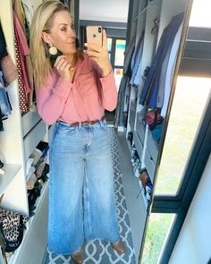 #aesthetic #jeans #pink #fashion #imageconsultant #outfitoftheday #mirrorselfie Post Pregnancy Clothes, Pre Pregnancy, Pregnancy Outfits, Wide Leg Jeans, Denim Shirt, Straight Hairstyles, Outfit Of The Day, Personal Style, Poses