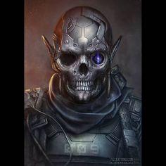 Výsledek obrázku pro cyberpunk skull