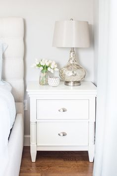 This Retreat nightstand is named perfectly—it's reminiscent of gorgeous bedroom furniture you'd find in one of your favorite vacation getaways. Its captivating transitional design will adorn your spac Furniture Makeover, Bedroom Furniture, Bedroom Decor, Bedside Table Decor, Bedside Table Styling, Bedside Tables, Side Tables Bedroom, Bedroom Night Stands, Night Stand Decor