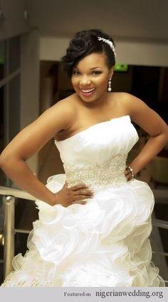 African American. Black Bride. Wedding Hair. Natural Hairstyles. pin curl slant bang, wedding hair, african american hair