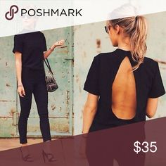 🌹🌹🌹 🆕COOL OPEN BACK TOP 🌹🌹🌹 🌹🌹🌹  🆕 SUPER COOL OPEN BACK TOP WITH MOCK NECK AND SHORT SLEEVES 🌹🌹🌹 Tops