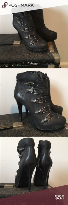 Ash stiletto black boots amazing buckle 39 1/2 Black leather Ash stiletto boot rock star buckles zipper on side. Ash  Shoes Ankle Boots & Booties