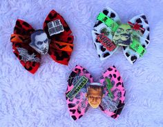 Death Comes In 3's Hair Bows Set Universal by MirroredOpposites, $15.00