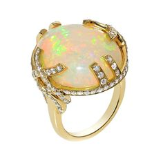 Goshwara ring featuring an Ethiopian opal set in yellow gold with diamond pavé.