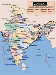 Map of India: Location Southern Asia, Capital New Delhi. India World Map, India Map, India Travel, Goa India, India Tour, Jaipur, Geography Map, Teaching Geography, Parque Natural