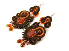 Soutache Earrings Badak Merah - will add glamour to any outfit. Ideal for evening and summer styles, handmade.