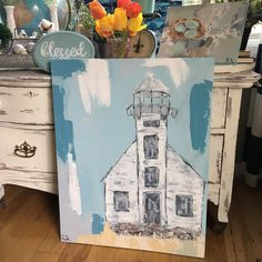 """17 Likes, 1 Comments - Becky Sherwood (@reclaimessentials) on Instagram: """"Finished painting this lighthouse yesterday. I've always loved lighthouses and my husband asked me…"""""""