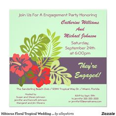 Hibiscus Floral Tropical Wedding Engagement Party Card