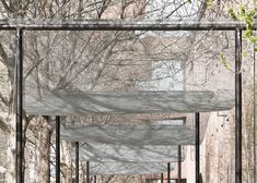 Vector Architects has draped lengths of wire mesh over the entrance to a museum…