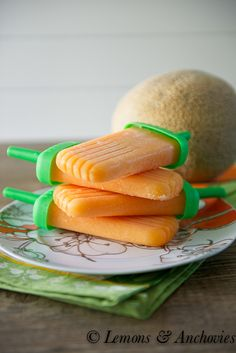 Cantaloupe (sweet melon) Popsicles | Already had frozen melon, this should be Yum! http://lemonsandanchovies.com