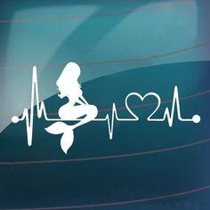 1.51AUD - Waterproof Removable Mermaid Heartbeat Lifeline Art Car Sticker Decal Finest #ebay #Home & Garden
