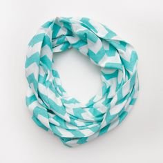 Tiffany Blue Chevron Infinity Scarf - Soft Jersey Knit. $40.00, via Etsy.