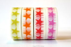 Cute Star pattern washi tape with choice of yellow, orange, red, or pink.15mmx10mmade in China $2.00