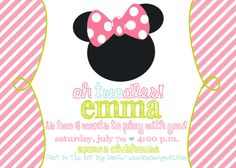 Minnie Mouse : Mickey Mouse Clubhouse Birthday Party Invitations. $15.00, via Etsy.
