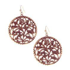 Plumeria Gardens Copper Filigree Drop Earrings ($5) ❤ liked on Polyvore featuring jewelry, earrings, women, copper jewelry, filigree jewelry, copper earrings, round drop earrings and earring jewelry