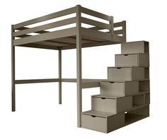 lit mezzanine noah avec bureau et rangements int gr s 90x190cmix promo lit enfant vente unique. Black Bedroom Furniture Sets. Home Design Ideas
