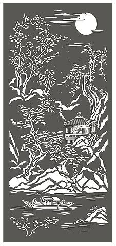 : Chinese Stencils Chinoiserie Stencils Chinese Ravine Oriental Scene from Henny Donovan Stencils, Stencil Fabric, Stencil Patterns, Stencil Art, Stencil Designs, Chinoiserie, Chinese Paper Cutting, Chinese Patterns, Glass Engraving