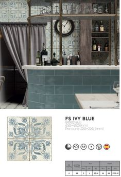 BLUE FLORAL PATTERN TILE FS Ivy Blue by Decobella, South Africa new arrival. Also available in other colours. Visit our website to see our full range of vintage or farmhouse inspired tiles. Porcelain Jewelry, Porcelain Ceramics, Pallet Boxes, Decorative Wall Tiles, Metro Tiles, Vintage Tile, Blue Tiles, Wall And Floor Tiles, Kitchen Tiles